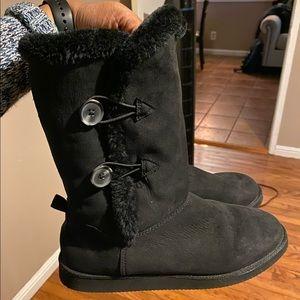 Black Faux Fur Winter Boots